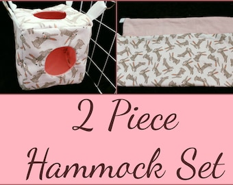 2 Piece Hammock Set, Perfect for Rats, Chinchillas, Ferrets, and Sugar Gliders