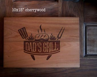 Gift for Dad, Father's Day,  housewarming, engraved wood cutting board, carving board, grill logo BBQ
