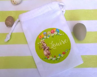 Small fabric bag Easter customizable spring green pattern