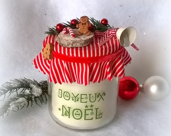 "White Christmas candle ""Merry Christmas"", Velvet Ribbon"