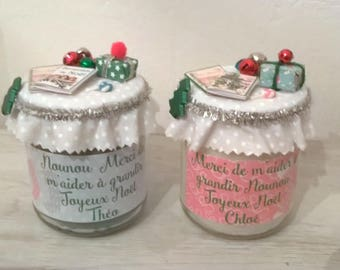 Christmas candle nanny, pink or blue, personalized. Phrase choice + name