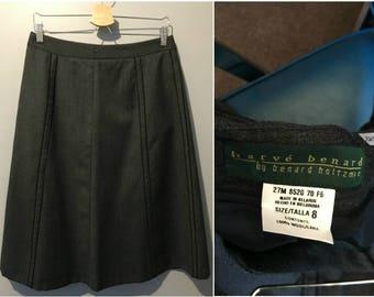 Vintage 1980s Harve Benard by Benard Holtzman Gray Wool Skirt - Size 8