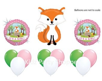 Woodland Animals Balloon SET It's A Girl Baby Shower Gender Reveal Party Decorations Centerpiece Prop Fox Owl Squirrel Raccoon Hedgehog
