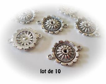 Set of 10 flowers style silver rose charms Silver Rosette style flowers