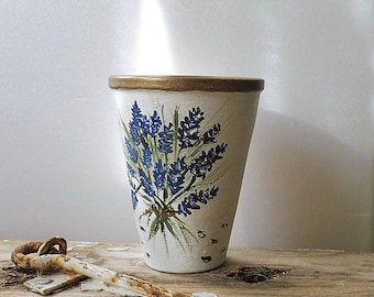 Hand Painted Lavender, Painted Clay Pot, Terracotta Pot, Painted Candle Holder, Lavender Clay Pot, Painted Terracotta, Lavender Flowers Pot