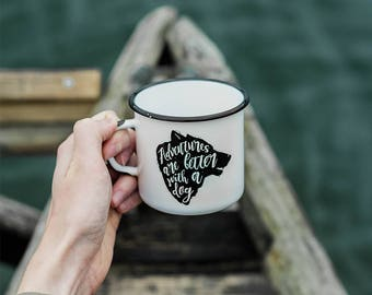 Adventures are better with a dog enamel camping mug