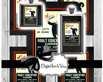 Funny Digital Download Vintage Job Clip Art. High Resolution of Tuxedo Suit Gentleman with Hat. Inchies and Dominoes of Funny, Cute Man.