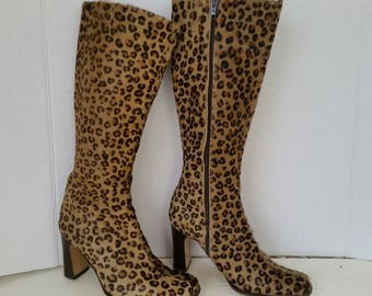Vintage Vero Cuoio Italian Boots Dyed Leopard Print Excellent condition