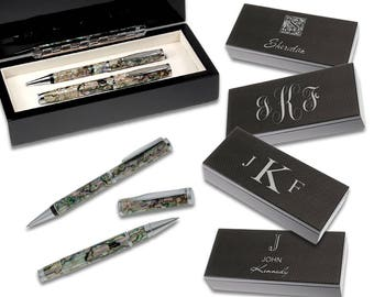Personalized Mother of Pearl & Abalone Shell Pen Gift Set - Monogram Carbon Fiber Twin Pen Set - Executive Office Desk Pen Set - Gift Idea