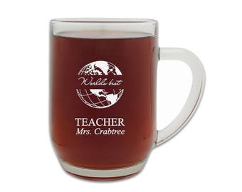 Engraved World's Best Teacher 20oz Glass Barrel Beer Mug with Free Personalization - Personalized Beer Tankard - Laser Engraved Beer Glass