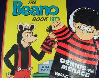The Beano Book 1973 Annual with Dennis the Menace Glove Puppet