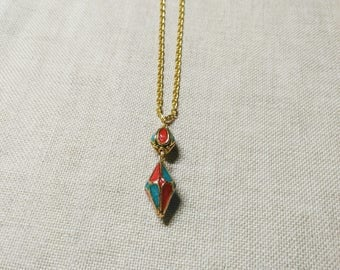 LILAC, red, blue and gold necklace