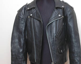 Mens Black Leather Biker Jacket Size Large
