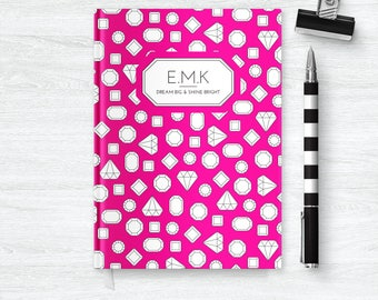 Personalized Journal Notebook | Monogrammed Journal | Diamond Notebook | Monogram Notebook | Monogram Journal for Girls Diary | PSNTB_0010