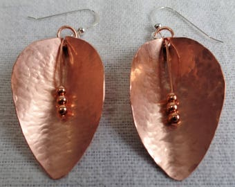 Handcrafted Leaf Shape Copper Earrings with Hammered Texture with dangling Copper Beads and Sterling Silver Ear Wires JER128SS