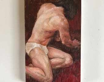 Getting down - an original small oil study 3x5""
