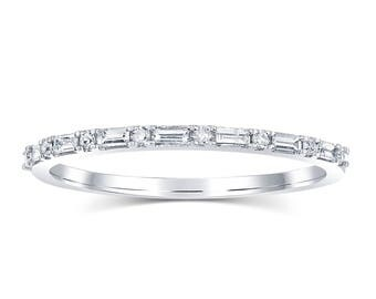 Baguette Wedding Band - 18k White Gold - SALE reduced price