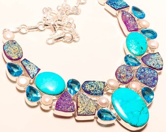 Turquoise and titanium druzy, and pearls   sterling silver necklace
