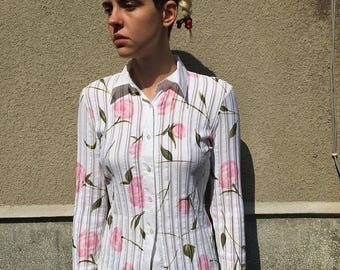 ON SALE Apriori Vintage 90s style button up shirt/blouse