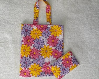 Childrens fabric tote bag and matching purse.
