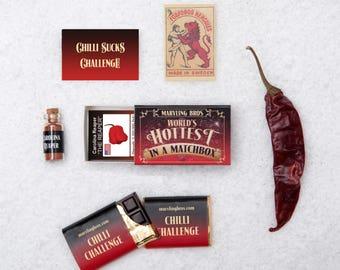 World's Hottest In A Matchbox - Chilli Gift - Chilli Chocolate - Secret Santa - Carolina Reaper - Gift for Him - Chili Gift