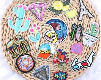 Embroidered Patches - Cool Iron on Applique Patches For Jeans & Clothes - Sew on Patches - Iron on Transfers appliques  - Repair Patches