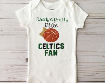 Daddy's Pretty Little Celtics Fan, NBA onesie, Celtics Baby Onesie, Celtics Baby girl, Boston Celtics