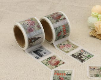 Washi Tape - Postage stamp Washi Tape - Floral Washi Tape - Paper Tape - Planner Washi Tape - Washi - Decorative Tape - Deco Paper Tape