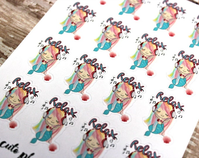 Mermaid Stickers - Mermaid Planner Stickers - Character Stickers - Misty Relax - Music Mermaid stickers - Listen to Music stickers