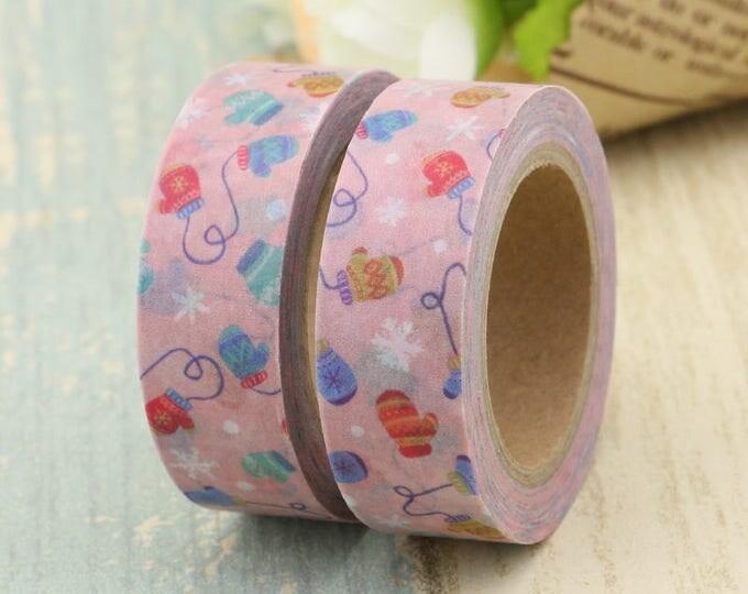 Washi Tape - Christmas Washi Tape - Mitten washi Tape - Paper Tape - Planner Washi Tape - Washi - Decorative Tape - Deco Paper Tape - Mitten