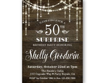 surprise birthday invitation surprise party invitation surprise 50th birthday party invitation western rustic - Surprise 50th Birthday Party Invitations