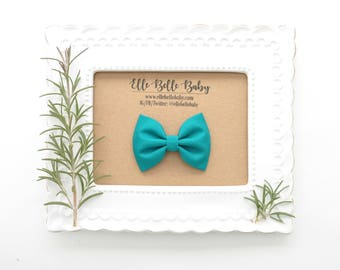 Teal Blue Newborn Bow Tie -Belle Hair bow- Baby Headband - Cotton Hairbow - Infant Tuxedo Bow - Ballet Bow - Toddler Hair Clip
