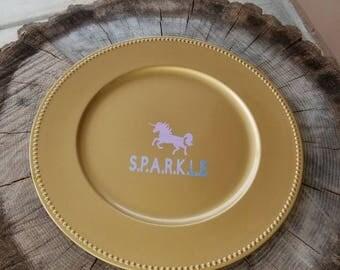 Gold Unicorn Party Platter, Unicorn Party Tray with Name, Unicorn Birthday Serving Platter, Unicorn Theme Decor, CHOOSE COLOR  of Unicorn