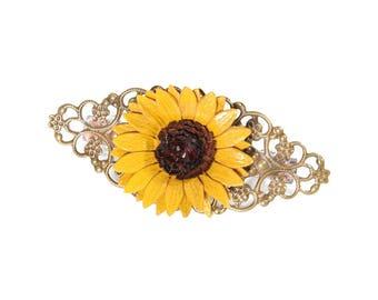 Barrette filigree flower sunflower leather full grain cowhide