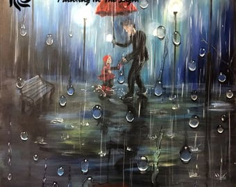 father and daughter rain painting