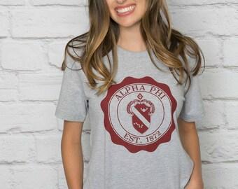 Alpha Phi Printed T-Shirt Grey