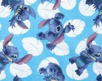 "Lilo and Stitch, Many faces of stitch by Springs Creative fabric, By the Half Yard, 43"" wide, 100% cotton -disney fabric - cartoon fabric"