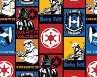 "Star Wars Bad Guys characters fabric, by the half yard, 44"" wide, 100% cotton, star wars fabric, movie fabric, darth vader fabric,"