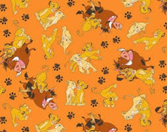 "Lion King simba and friends by Springs Creative - by the half yard - 43-44"" wide, 100% cotton - cartoon fabric - character fabric"