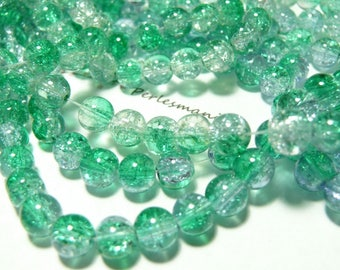 50 Crackle two-tone 8 mm Green Crystal beads