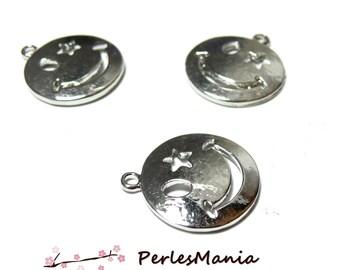 2 pendants Smiley silver Platinum OB14731 hobby supplies
