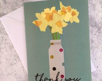 Daffodils- Duck-egg Blue Thank you Card
