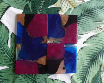 Square resin coasters Deep Purple Blue and Gold