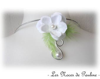 Back white and lime green jewel flower and scrolls wedding
