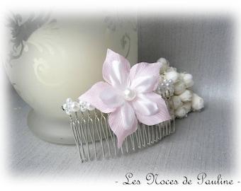 Pink white flower satin wedding jewel comb