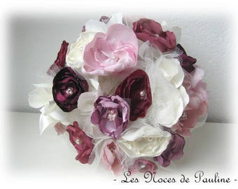 Burgundy, pink and ivory bridal bouquet fabric flowers, perennial