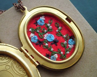 Embroidered Necklace, Roses Cameo Locket Necklace, Embroidery Necklace, Bohemian Fiber Art Secret Garden Floral Embroidery Jewelry Gift