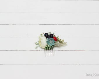 White turquoise flower comb Floral comb Flower accessory Hair comb Wedding accessory Bridal flowers Floral headpiece Outdoor wedding