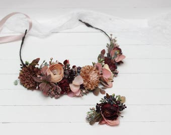 Brown beige wedding Floral accessories Fall flower crown Autumn hair wreath Bridal headpiece Boutonniere Outdoor Buttonhole Bridesmaid crown