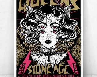 Queens of the Stone Age Concert Poster - Illustration [Queens of the Stone Age / State Theatre Portland, ME - Oct 22, 2017]